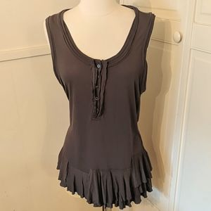 J. Crew Gray Ruffle Bottom Tank Top Large Shirt